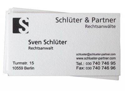 Visitenkarte Rechtsanwalt Schlüter